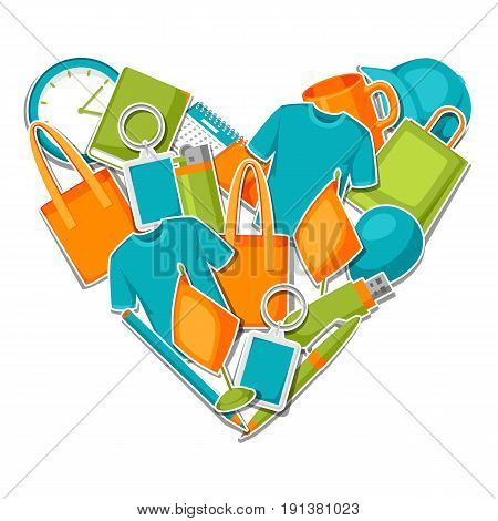 Advertising background with promotional gifts and souvenirs.