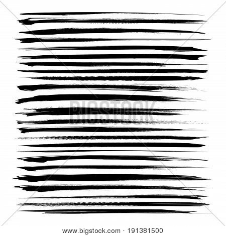 Set Of Long Black Textured Abstract Strokes Isolated On A White Background