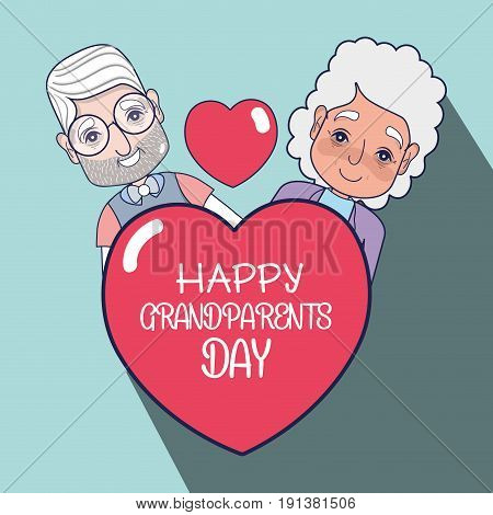 old people couple with heart with message vector illustration