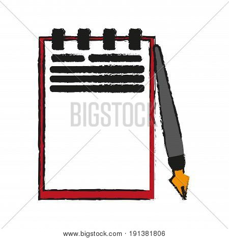 notepad with fountain pen icon image vector illustration design  sketch style