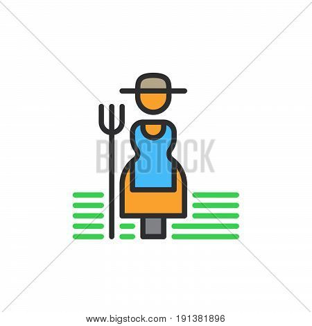 Farmer woman with hayfork filled outline icon line vector sign linear colorful pictogram. Symbol logo illustration