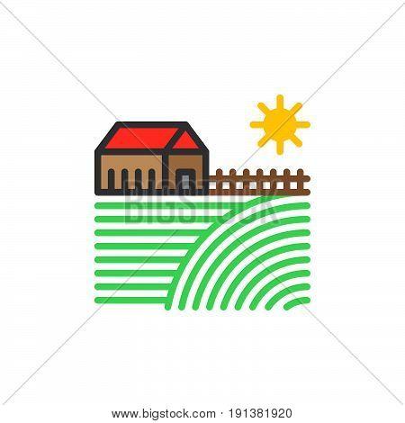 Farm house filled outline icon line vector sign linear colorful pictogram. Village symbol logo illustration