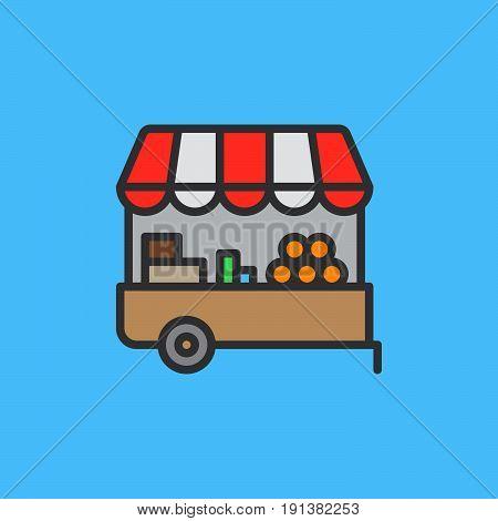 Farmer stall filled outline icon line vector sign linear colorful pictogram. Symbol logo illustration