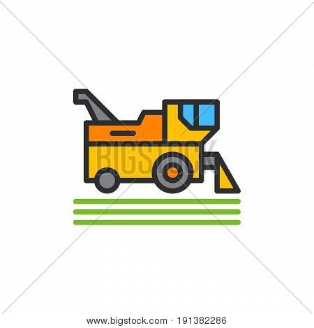 Combine harvester filled outline icon line vector sign linear colorful pictogram. Symbol logo illustration