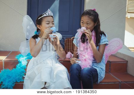 Siblings in fairy costume having a tea party at home