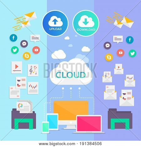 Cloud Icon Flat Design Internet of things concept and Cloud computing technology Smart Home Office Technology Internet networking concept. Internet of things cloud with apps. Cloud computing technology device. Cloud Upload Download