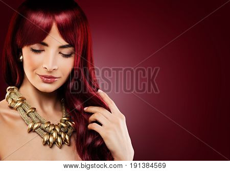 Fashion Model Woman with Red Curly Hair. Beautiful Redhead Girl on Banner Background