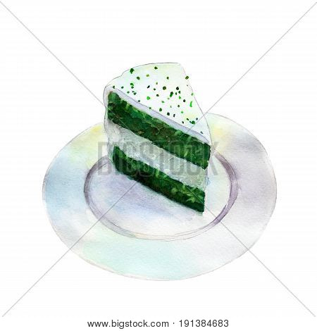 Saint Patricks day cake watercolor illustration in hand-drawn style isolated on white background.