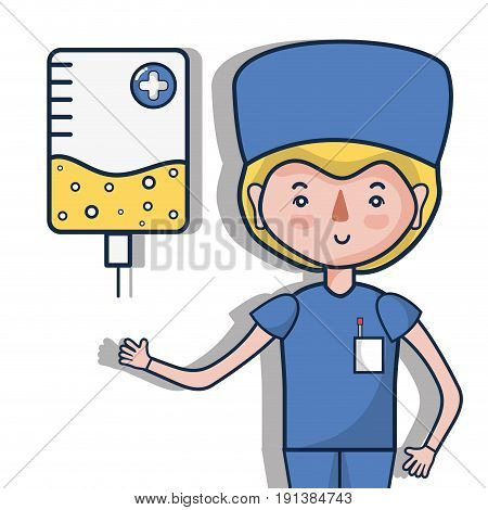 specialist doctor with element transfusion vector illustration