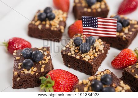 Close-up of sweet food decorated with 4th july theme on tray