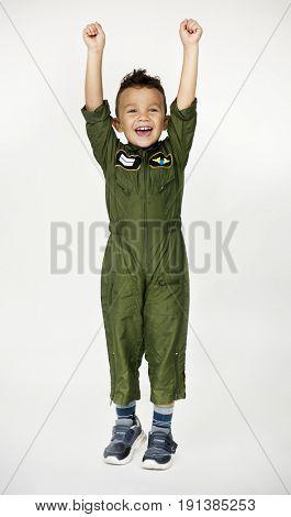 Boy in dream job costume pilot