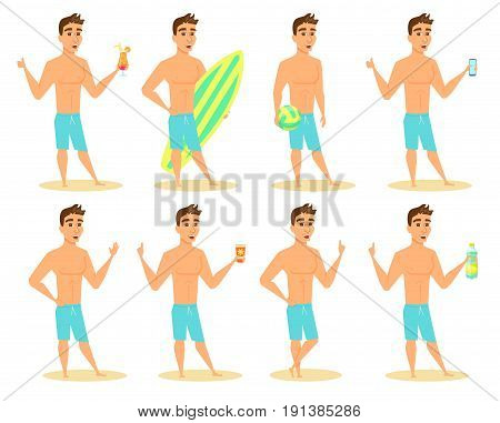Set of man on beach poses and gestures. Cartoon guy in shorts smiles with phone, surfboard, beach volleyball ball, sunscreen, cocktail, water bottle, raised index finger. Character design