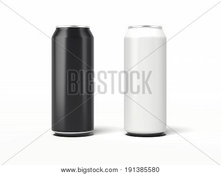 Two aluminum can isolated on white background. 3d rendering