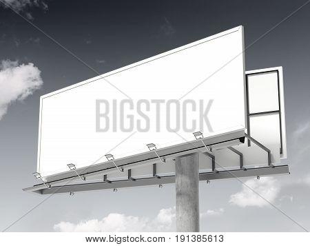 White blank billboard against the beautiful sky. 3d rendering