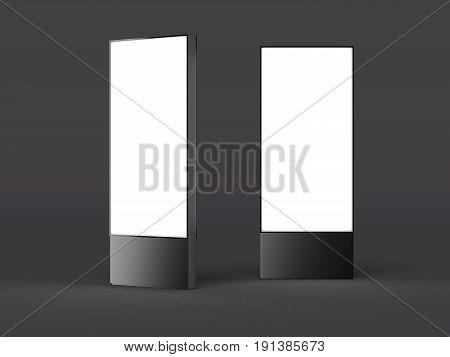 Dark metal blank vertical billboard isolated on black background. 3d rendering