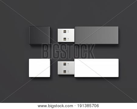 Two usb memory sticks isolated on black background. 3d rendering