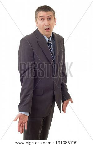 silly business man waiting isolated on white
