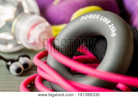 various sport equipment on a stretch mat