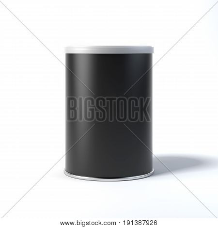 Black tin can isolated on white background. 3d rendering