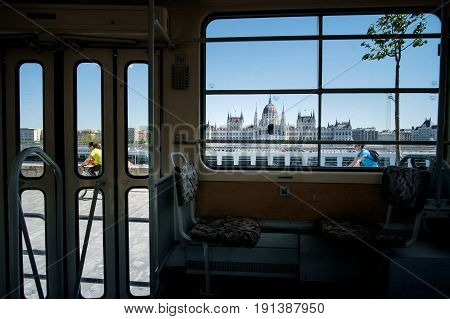 Budapest, Hungary - Avril 16, 2016: Tram Interieur On Background The Danube