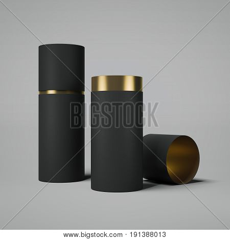 Black and gold tube opened. Isolated on bright background. 3d rendering