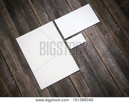 White branding mockup on wooden floor. 3d rendering