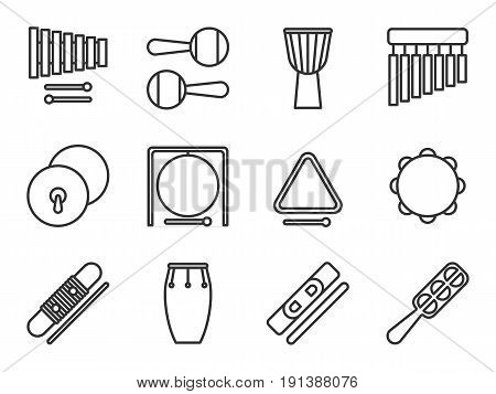 Set of isolated line icon. Percussion musical instrument. Black outline collection. Xylophone maracas djembe chimes cymbals gong triangle tambourine guiro conga claves jingle sistrum