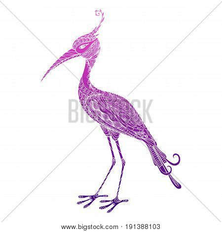 Isolated hand drawn colored abstract ornate bird heron stork crane on white background. Pink purple violet ornament of curve lines