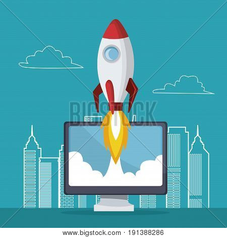 blue color background with city landscape silhouette rocket coming out of the display computer vector illustration