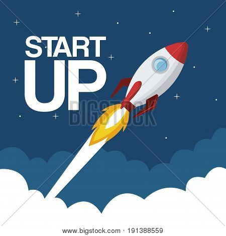 cloud landscape background star up rocket flying vector illustration