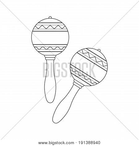 Isolated decorative ornate pair of maracas on white background. Black outline musical instrument