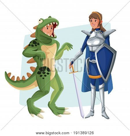 poster with couple lizard man and warrior princess costume halloween vector illustration