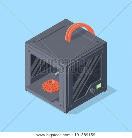 3D printer and printed detail. Isometric vector illustration