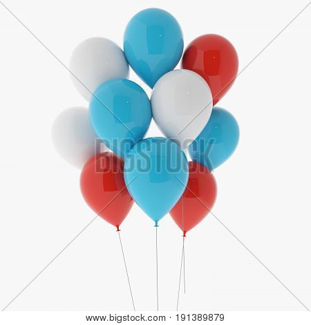 air balloons in red, blue and white on isolated white in 3D rendering