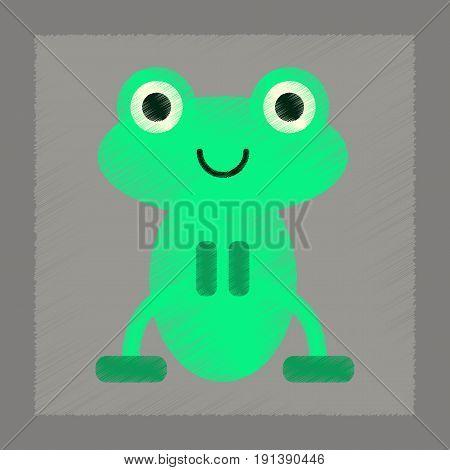 flat shading style icon of Cute frog cartoon