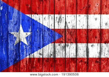 Flag of Puerto Rico painted on wooden frame