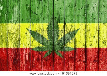 Flag of Rasta painted on wooden frame