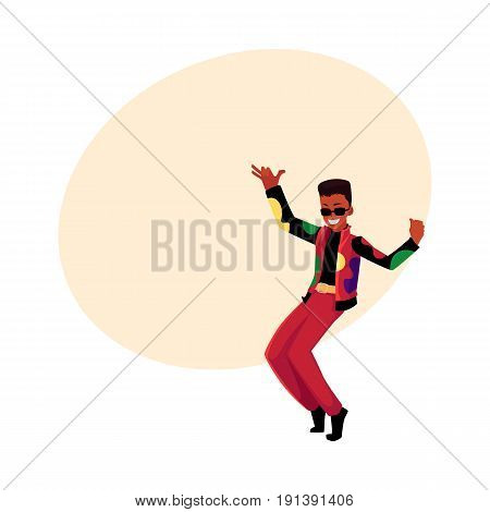 Black, African American man, guy in 1980s style clothes dancing disco, cartoon vector illustration with space for text. Black man in 80s style clothing dancing at retro disco party