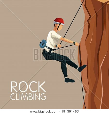 beige color background scene man mountain descent with harness rock climbing vector illustration