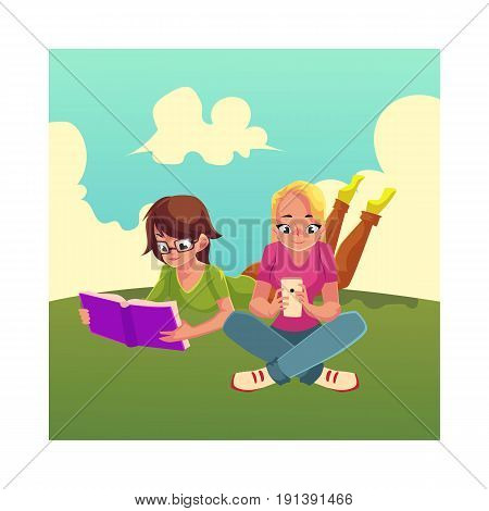 Two girls, woman in glasses reading book while lying on her stomach on the grass, another using mobile phone, cartoon vector illustration isolated on white background. Girls women using analogue