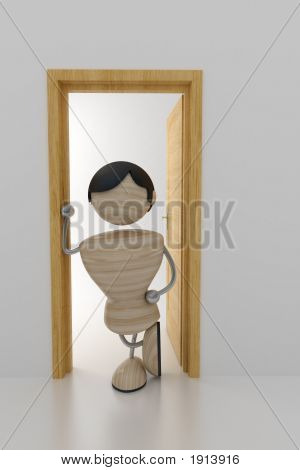 Man Stands In Doors