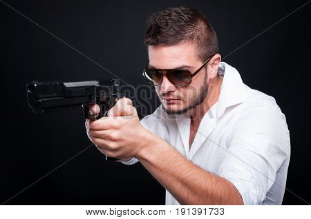 Handsome Mafia Member Pointing With Gun