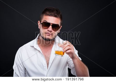 Young Mafia Guy Drinking Alcohol
