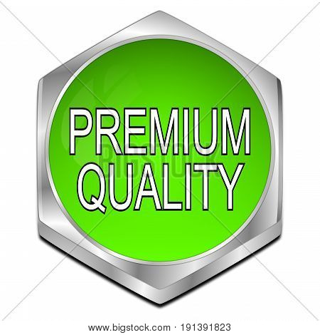 green Premium Quality button - 3D illustration