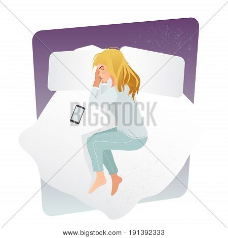 Sleeping woman. Woman Sleeping at Night. Woman Sleeping in Bed with smartphone. Top view on female sleeping. Flat Style Modern Vector Illustration Isolated on White Background.