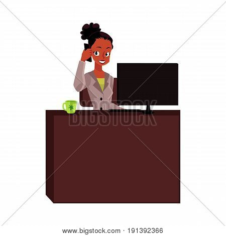 Black, African American businesswoman, secretary talking by phone, calling at office table, cartoon vector illustration isolated on white background. Black businesswoman, secretary talking by phone