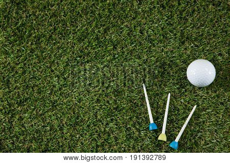 Overhead view of golf ball with tee on grassy field