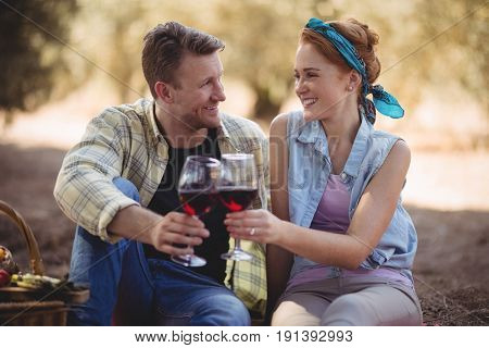 Smiling young man and woman toasting wineglasses at farm