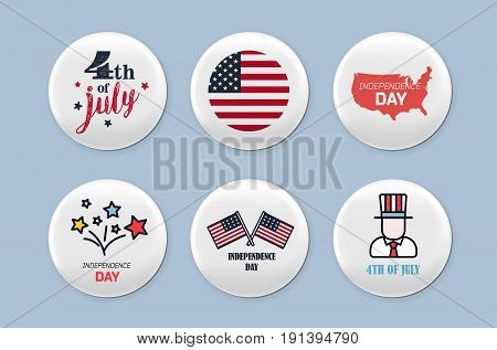 Steel round badges set. 4th of july. and america flag theme