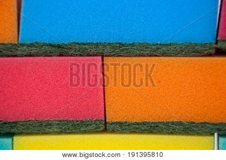 Full frame of various colorful sponge pads